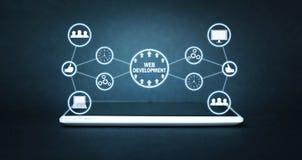 Conceito do desenvolvimento da Web Internet e tecnologia foto de stock