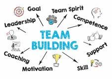 Conceito do desenvolvimento de equipas Carta com palavras-chaves e ícones no fundo cinzento Imagem de Stock Royalty Free