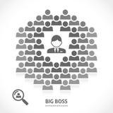 Conceito do desenvolvimento de equipas do chefe grande Imagens de Stock Royalty Free