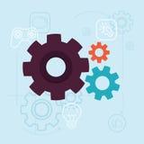 Conceito do desenvolvimento do app do vetor no estilo liso Imagem de Stock