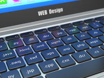 Conceito do desenvolvimento do design web, programação ou termnes de SEO em t Fotografia de Stock