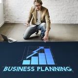 Conceito do desenvolvimento do progresso da estratégia do planeamento empresarial fotos de stock