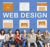 Conceito do desenvolvimento do Web site do trabalho do design web imagens de stock royalty free