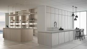 Conceito do designer de interiores do arquiteto: projeto inacabado que se transforma cozinha branca do luxo real, minimalista e d ilustração stock