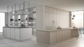 Conceito do designer de interiores do arquiteto: projeto inacabado que se transforma cozinha branca do luxo real, minimalista e d ilustração do vetor