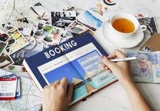 Conceito do destino do curso da reserva de hotel do registro Foto de Stock
