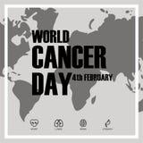 Conceito do dia do câncer do mundo com ícones Ilustração do vetor ilustração do vetor