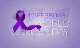 Conceito do dia do câncer do mundo Fita da alfazema Ilustração do vetor ilustração royalty free
