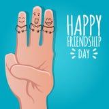 Conceito do dia da amizade ilustração conservada em estoque de sorriso engraçada do vetor de quatro dedos projeto de cartão para  ilustração royalty free