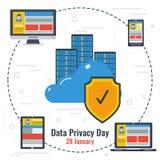 Conceito do dia da privacidade de dados e do armazenamento seguro Imagem de Stock