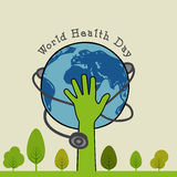Conceito do dia de saúde de mundo com mão, o globo e o estetoscópio humanos Imagem de Stock