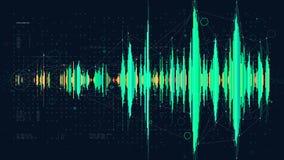 Conceito do diagrama da onda da frequência da tecnologia digital da Olá!-tecnologia, hud futurista que visualiza dados complexo ilustração royalty free