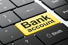 Conceito do dinheiro: Conta bancária no fundo do teclado de computador Fotografia de Stock Royalty Free