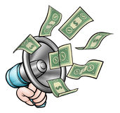 Conceito do dinheiro do megafone ilustração royalty free