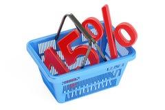 Conceito do disconto e da venda 15%, rendição 3D Fotos de Stock Royalty Free