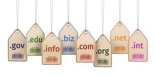 Conceito do domínio Etiquetas no fundo isolado branco Foto de Stock Royalty Free