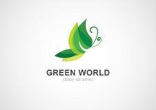 Conceito do eco da folha da borboleta Vetor abstrato Logo Design Template Fotografia de Stock Royalty Free