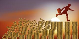 Conceito do efeito de dominó com um financeiro apavorado que corre para evitar a falência ilustração stock