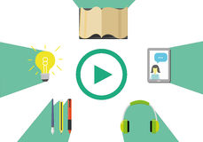 Conceito do ensino eletrónico com ilustração em linha do vetor da educação Foto de Stock
