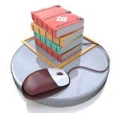Conceito do ensino eletrónico: rato e livros do computador Foto de Stock