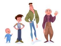 Conceito do envelhecimento dos caráteres masculinos O ciclo da vida do childho ilustração do vetor