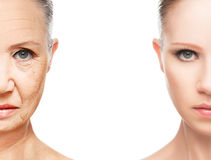 Conceito do envelhecimento e dos cuidados com a pele imagem de stock royalty free
