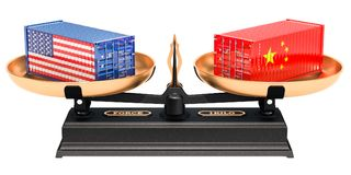 Conceito do equilíbrio de comércio de China e de EUA, rendição 3D ilustração stock