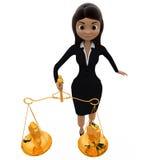 conceito do equilíbrio de dólar da mulher 3d Fotografia de Stock Royalty Free