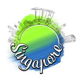 Conceito do esboço do logotipo do curso de Singapura Foto de Stock