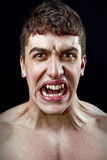 Conceito do esforço - homem louco furioso irritado Foto de Stock Royalty Free