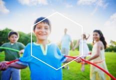 Conceito do espaço da cópia das férias de verão do feriado do quadro do hexágono Imagem de Stock