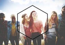 Conceito do espaço da cópia do símbolo do quadro do ícone do hexágono Imagem de Stock Royalty Free