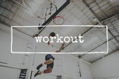 Conceito do esporte do tiro da aro do alcance do tiro em suspensão do basquetebol Imagens de Stock Royalty Free