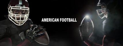 Conceito do esporte Jogador do desportista do futebol americano no fundo preto com espaço da cópia Conceito do esporte fotografia de stock royalty free
