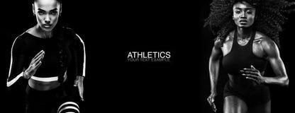 Conceito do esporte Pequim, foto preto e branco de China Um atlético forte, velocista das mulheres, corrida isolado no preto, ves fotos de stock