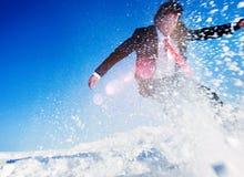 Conceito do estilo de vida de Snow Boarding Activity do homem de negócios fotografia de stock