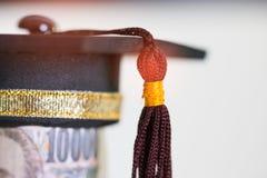 Conceito do estudo do graduado do international a bordo, preto da graduação foto de stock royalty free