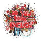 Conceito do estudo inglês ou da viagem Letras você fala o inglês com o grupo de ícones de Inglaterra no PNF da garatuja dos desen ilustração do vetor