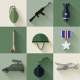 Conceito do exército de ícones lisos do equipamento militar Imagens de Stock Royalty Free