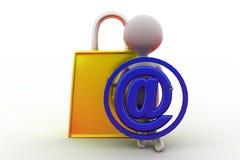 conceito do fechamento do correio do homem 3d Imagem de Stock