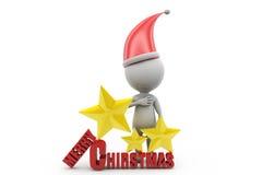 conceito do Feliz Natal do homem 3d Imagens de Stock