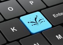 Conceito do feriado: Fogos-de-artifício no fundo do teclado de computador Imagens de Stock Royalty Free