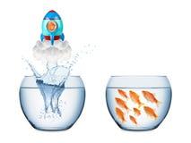 Conceito do foguete dos peixes fotos de stock