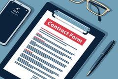 Conceito do formulário do contrato - ilustração isométrica da reticulação do vetor ilustração royalty free