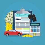 Conceito do formulário do seguro de carro ilustração royalty free