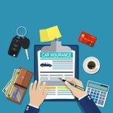 Conceito do formulário do seguro de carro ilustração do vetor