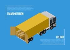 Conceito do frete do transporte com carro da carga ilustração royalty free