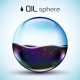 Conceito do fundo do estoque de óleo do mundo dos vidros Vetor Fotos de Stock