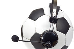 Conceito do futebol, esfera como o comentador Imagens de Stock Royalty Free
