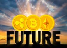 Conceito do futuro atrás de uma moeda cripto ilustração royalty free